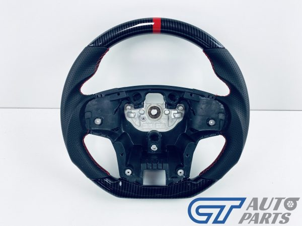 Carbon LOOKS LEATHER Steering Wheel Red Line+Stitching for 2015-2020 Ford Ranger PX2 PX3 WildTrack Raptor-0