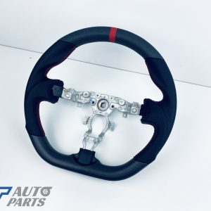 Nissan 370Z 2008+ Matte Carbon Fibre Leather Steering wheel RED Stitching / Red Centre Line-0