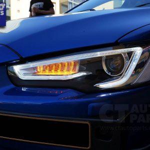 3D Neon LED DRL Bar Projector HeadLights for 07-17 Mitsubishi Lancer CJ EVO X-0