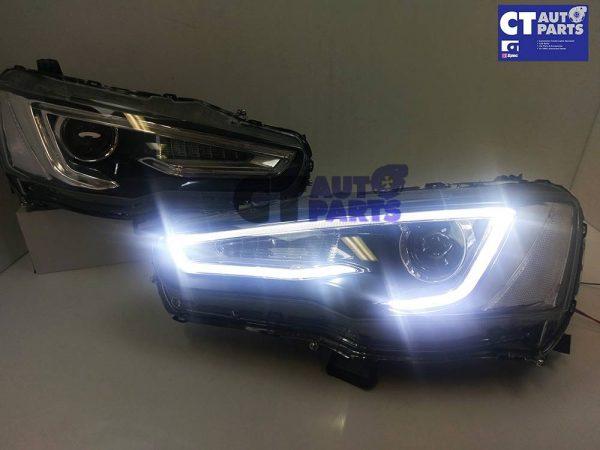 3D Neon LED DRL Bar Projector HeadLights for 07-17 Mitsubishi Lancer CJ EVO X-14767