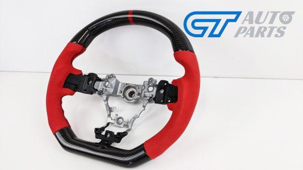 Carbon Fibre Red Alcantara Steering Wheel Red Stitching for 14-19 SUBARU WRX LEVORG STI-15022