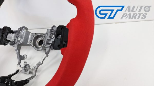 Carbon Fibre Red Alcantara Steering Wheel Red Stitching for 14-19 SUBARU WRX LEVORG STI-15023