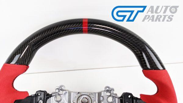Carbon Fibre Red Alcantara Steering Wheel Red Stitching for 14-19 SUBARU WRX LEVORG STI-15025