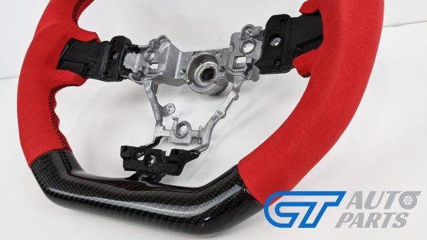 Carbon Fibre Red Alcantara Steering Wheel Red Stitching for 14-19 SUBARU WRX LEVORG STI-15026