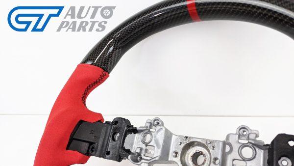 Carbon Fibre Red Alcantara Steering Wheel Red Stitching for 14-19 SUBARU WRX LEVORG STI-15032