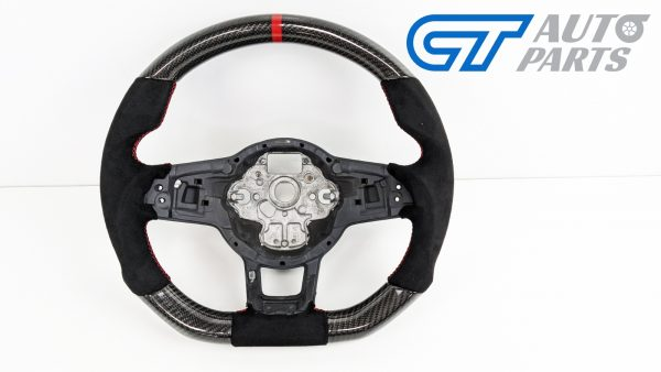 Carbon Fibre Alcantara Steering Wheel Red Stitching for VW GOLF 7 R GTI -0