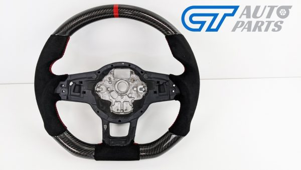 Carbon Fibre Alcantara Steering Wheel Red Stitching for VW GOLF 7 R GTI -15052
