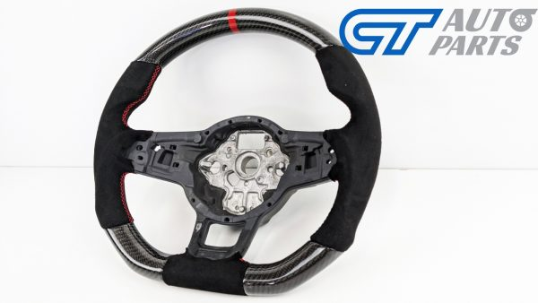 Carbon Fibre Alcantara Steering Wheel Red Stitching for VW GOLF 7 R GTI -15055