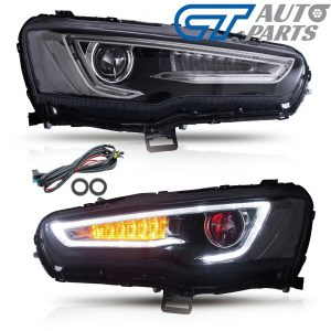 DEMON EYE 3D Neon LED DRL Bar Projector HeadLights for 07-17 Mitsubishi Lancer CJ EVO X-0